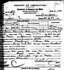 Carmela Martinez de Romo arrives Oct 12, 1910.