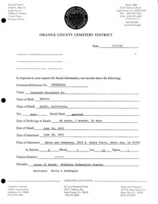 This form lists all of the information the office still holds regarding the grave.