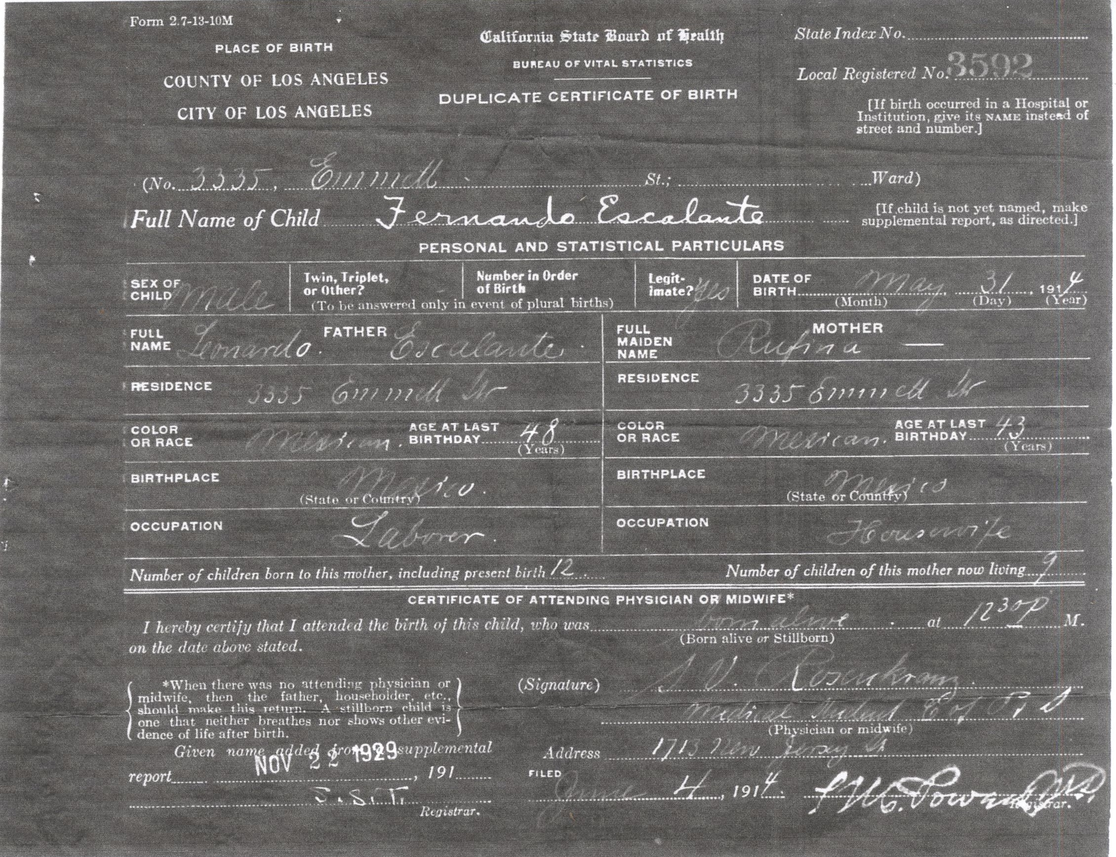 June 2013 tneranch fernandos birth certificate los angeles ca 1914 aiddatafo Images