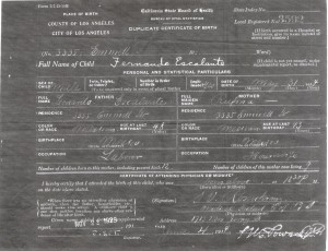 Fernando's Birth Certificate, Los Angeles, CA, 1914.