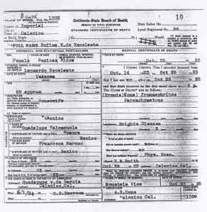 Rufina Valenzuela de Escalante's Death Certificate.