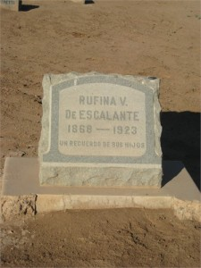 Rufina's tombstone, Mt.View Cemetery, Historical Section.