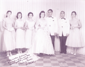 Carlos' Wedding Party, 1957. With his Padrinos, Tia Alicia (left of bride) and Tio Fernando (right of groom).