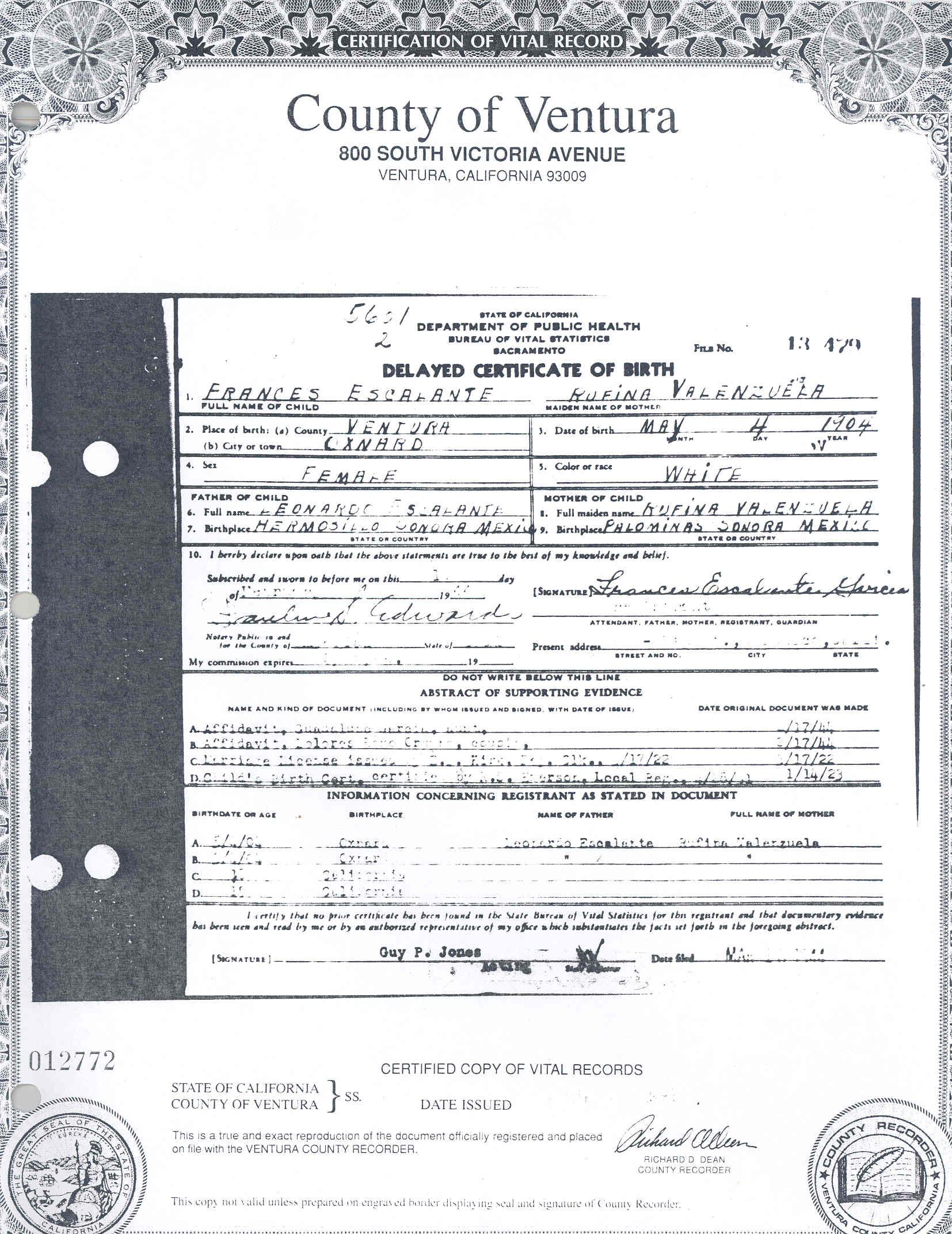 Tneranch finding escalante family history one document at a frances ruth escalantes delayed birth certificate aiddatafo Images