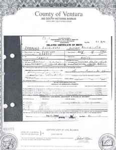 Frances Ruth Escalante's Delayed Birth Certificate.