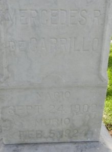 Mercedes' head stone at the Santa Ana Cemetery.