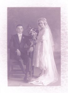 Tia Panchita and Tio Alejandro's wedding photo, March 17, 1922.