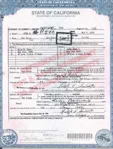 Correction to Ana's Death Certificate.