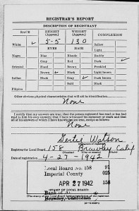 The second half of his WWII Draft Card.