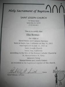 Elia Romo's Baptismal Certificate.