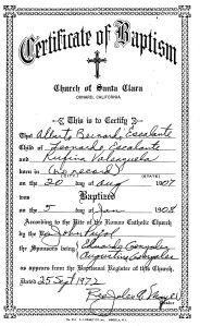 Albert's Baptism Paperwork.