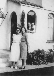 Allene Miller (left) with Edith Whitworth (right). Two friends in background.