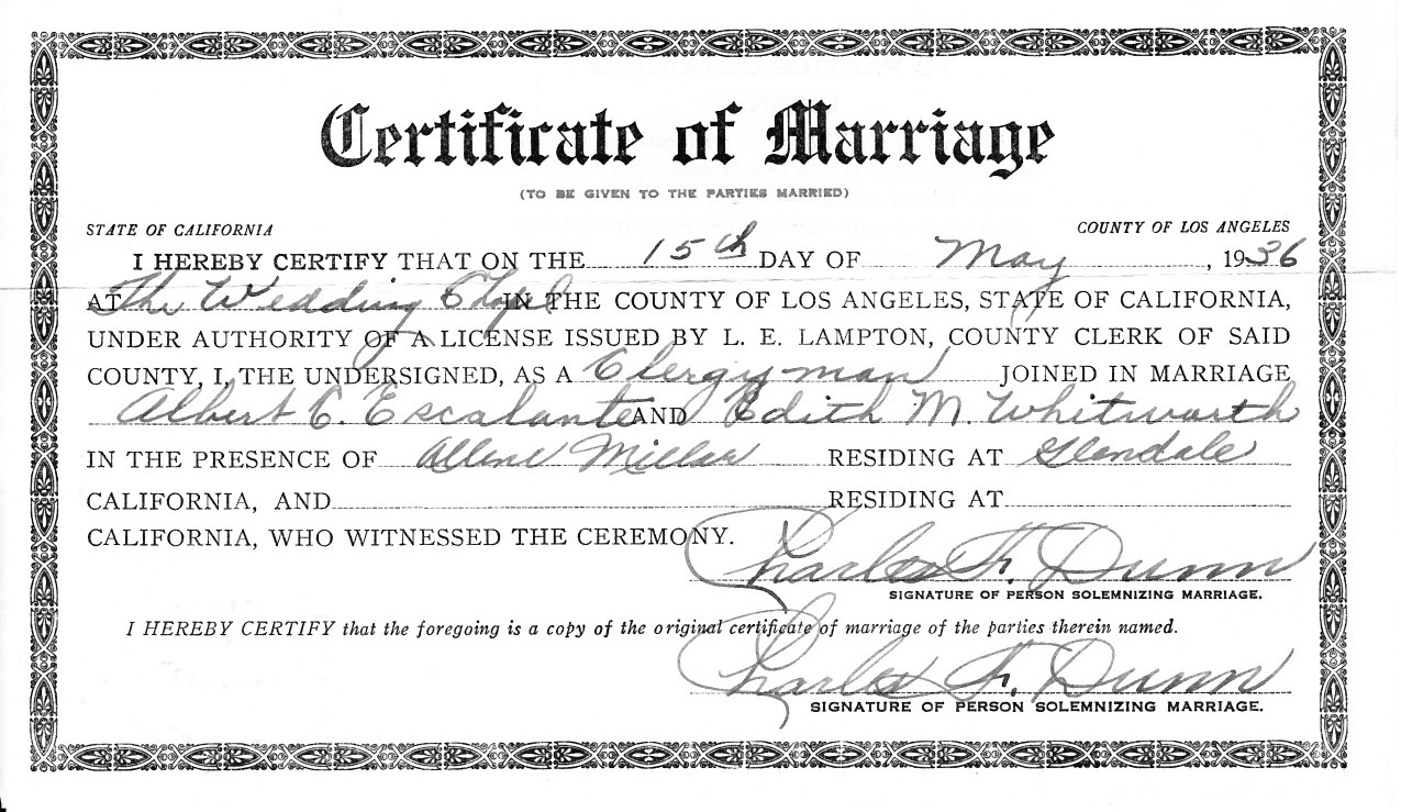 Escalante family history tneranch page 2 the official marriage certificate may 15 1936 xflitez Images