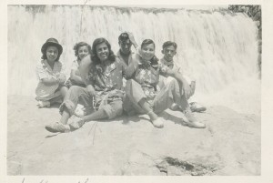 Her future sister-in-law (Oralia is far left) and Nela is third from left. Visiting a local waterfall.