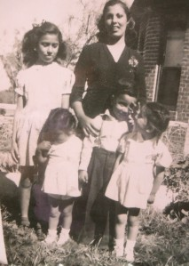 Picture day in Tuscon. Back row (L-R): Delia Guerrero and Nela. Front row (L-R): My mom, Lalo Guerrero, and my aunt.